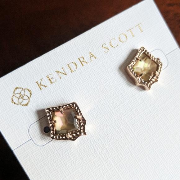 98ea61911 Kendra Scott Jewelry | Nwt Kirstie Studs Dark Brown Mop | Poshmark